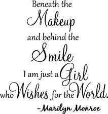 BENEATH THE MAKEUP Marilyn Monroe Wall Art Decal Quote Words Lettering Decor DIY
