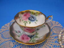 Royal Albert Large Blue Rose Tea Cup & Saucer Sponged Gold Fancy Teacup & Saucer