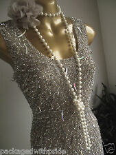 BN MONSOON NUDE SILVER SEQUIN SPARKLE FLAPPER GATSBY 20's DECO BODYCON DRESS 12