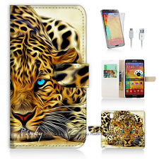 Samsung Galaxy Note 3 Print Flip Wallet Case Cover! Blue Eye Leopard P0354