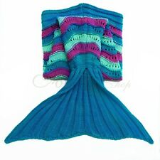 Kids Super Warm and Soft Knitted Mermaid Tail Blanket Fishtail Fish Scale Quilt