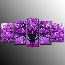 FRAMED Canvas Prints For living Room Purple Tree Wall Art Canvas Painting-5pcs