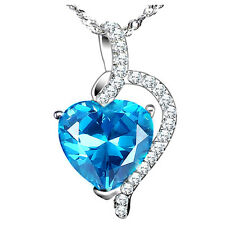 "4.10Ct Blue Topaz Heart Cut Pendant Necklace .925 Sterling Silver w/ 18"" Chain"