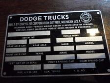 Typenschild Dodge Trucks Power wagon id-plate Schild Oldtimer s1