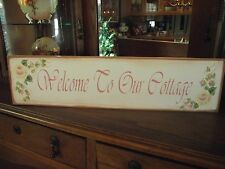 WELCOME TO OUR COTTAGE  HP Shabby Roses  Cottage Chic Primitive Wood Sign