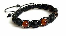 10 mm Men's Shungite Agate Gemstones Beads Shamballa Macrame Adjustable Bracelet