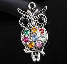 retro colorized crystal and antique silver owl necklace pendant