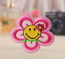 1 x flower floral patch patches smiley face girls jeans dress iron sew on fabric