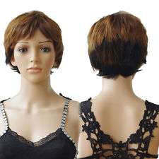 Ladies Full Wig Real Brazilian Human Hand Tied Short Natural Straight Wigs Daily
