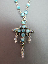 "Sterling Silver Cross Necklace Pendant Blue Moon Glow Beads 18"" SCC 925 Cabochon"