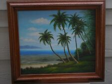 """BEAUTIFUL ISLAND SEASCAPE PALM BAY OIL PAINTING SIGNED W.CHAPMAN FRAMED 29 3/4"""""""