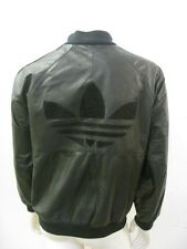 Vintage 1980s ADIDAS Black Leather Jacket Trefoil Stripe Size LARGE