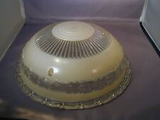 "Original 1930s Art Deco 3-Hole Laurel Wreath Yellow/Beige 10"" Ceiling Lamp Shade"