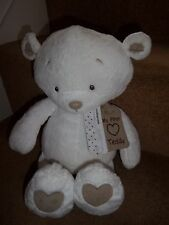 "MOTHERCARE 18"" LARGE WHITE MY FIRST MADE WITH LOVE TEDDY BEAR SOFT TOY"