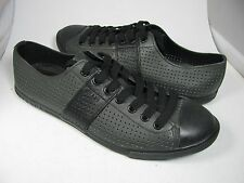 sz 7 NEW MENS  PRADA SPORT LINEA ROSSA ANTHRACITE PERFORATED LEATHER SNEAKERS