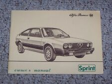 1983 Alfa Romeo Sprint Factory Original Owners Owner's User Manual Book RARE!