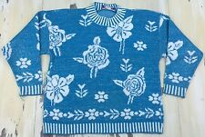 GLAMOUR KNIT - FAIRY KEI SWEATER - Vtg 50s-60s Blue Metallic Floral, L-XL