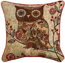 Woodland Hoot Milo Owl Branch Floral Design Tapestry Accent Decor Throw Pillow