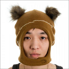 Star Wars Ewok Mascot Costume Cosplay Brown Ski Beanie w/Ears Cap Hat OFFICIAL