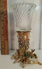 Kirks Folly Enameled Metal Candle Holder Gold Plated Fairies and Butterfly