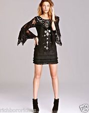 NWT Free People black crochet lace embellished Shell Game Shift Dress 6 $250