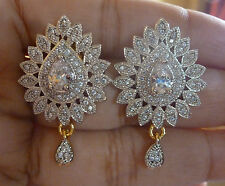 Genuine Cubic Zirconia AD Silver Plated All Time Wear Indian Stud Earrings 3cm 1