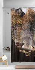 """Lone Wolf Prowling Wilderness Nature Print Shower Curtain, Peva 70"""" x 72"""" - NEW"""