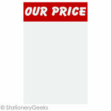 """12 OUR PRICE Sale Cards 8x5"""" Price Tickets Label Discount Shop Pricing Sign UK"""