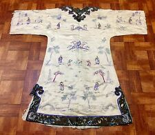 Wonderful Antique Chinese 1940S Silk Robe White Woman's Robe