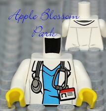 NEW Lego Minifig White Shirt DOCTOR TORSO Blue Scrubs Hospital Nurse Lab Coat ID
