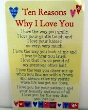 "HEARTWARMER KEEPSAKE MESSAGE CARD ""10 REASONS LOVE YOU"" LOVE POEM VALENTINES DAY"