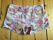 RIBBON LADIES PINK FLORAL DENIM HOTPANTS UK8