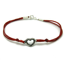 STERLING SILVER BRACELET SOLID 925 HEART WITH RED STRING B000158 EMPRESS