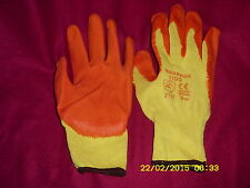 12 Pairs Warrior Latex Palm Coated Orange Builders Gardening Grip Gloves Size 9s