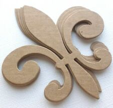 "{3} *FLEUR DE LIS* Unfinished Bare Chipboard Die Cuts - 3 1/2"" x 4"""