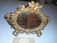 Antique Victorian Cast Brass 5 Cherabs Art Noveau Mirror Tabletop,Vanity,Easal