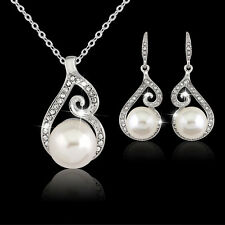 Gorgeous Womens Rhinestone Pearl Necklace Earring Wedding Bridal Jewelry Set