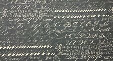 "LACEFIELD DESIGNS CHALKBOARD SLATE GRAY CURSIVE SCRIPT FABRIC BY THE YARD 54""W"