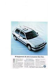PUBLICITE  1994  VOLKSWAGEN    GOLF  MATCH II série climatisée