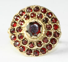 ANTIQUE AUSTRO HUNGARIAN GOLD OVER STERLING SILVER GARNET CLUSTER RING SIZE 6