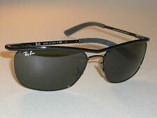 RAY BAN RB3385 SLEEK SHINY BLACK OLYMPIAN II DELUXE G15 RECTANGULARS SUNGLASSES