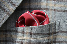 Amir Beverly HIls Maroon Striped Silk Pocket Square - Italy - $250.00