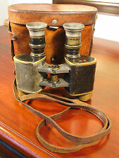 Antique Vintage Leather Cased WW1 Period Binoculars C1914 British Amy Crow Foot
