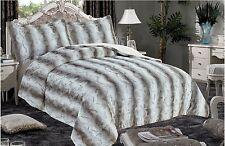 3 PC QUEEN THICK Luxurious Faux Fur Soft warm sherpa bed GRAY Blanket CARBONARA