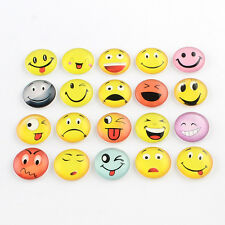 20pcs Emoji Pattern Half Round/Dome Glass Flatback Cabochons Mixed Color 10mm