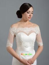 White Ivory Lace Shawl Bolero Wedding Jacket Bridal  1/2 Sleeves 6 16 18 22-28