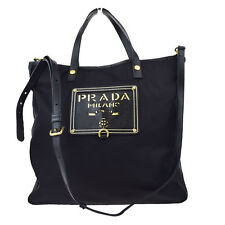 Authentic PRADA Logos 2Way Shoulder Hand Bag Nylon Leather Black Italy 66W604