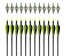 "10PK Archery Fiberglass Arrows 33""  With Hunting 10 Green Broadheads 100 Grain"