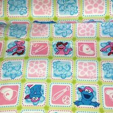 Sesame Street Cotton Flannel Fabric  Baseball  Children Cookie Monster Bfab