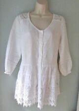Soft Surroundings White Linen Lace Atelier Boho Lagenlook Duster Tunic Top XS